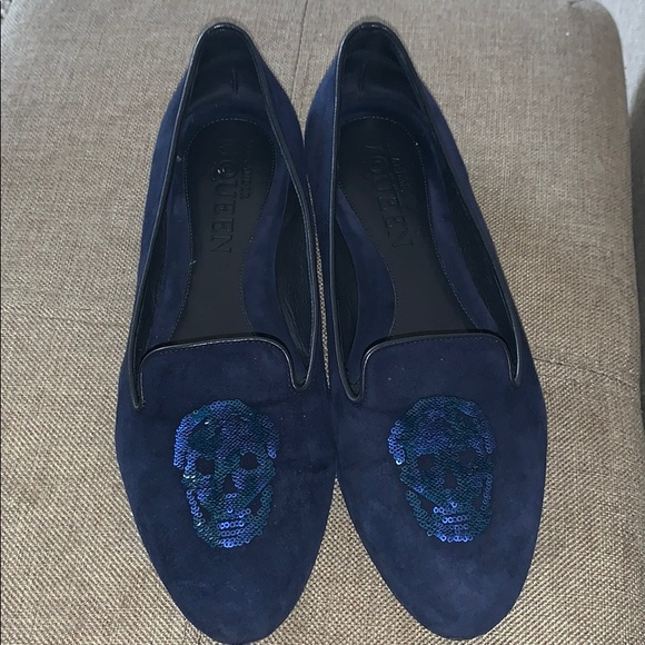c016fc7657f46 ALEXANDER MCQUEEN Shoes | Blue Suede Skull Flats | Poshmark